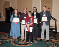 WM2014 Homer L. Dodge Citation for Distinguished Service to AAPT recipients, Jan Mader,  Taha Mzoughi, Gabe Spaulding, and Lee Trampleasure with Awards Committee Chair, Jill Marshall.