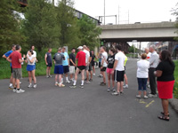 Participants prepare for the 5K AAPT Walk/Run through the University of Pennsylvania's historic campus.