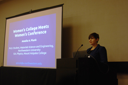 "The author presenting her talk entitled ""Women's College meets Women's Conference."" Photo courtesy of Ariel Ekblaw"