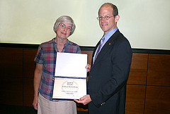Gillian Richardson receives AIP Children's Science Writing Award from Bo Hammer