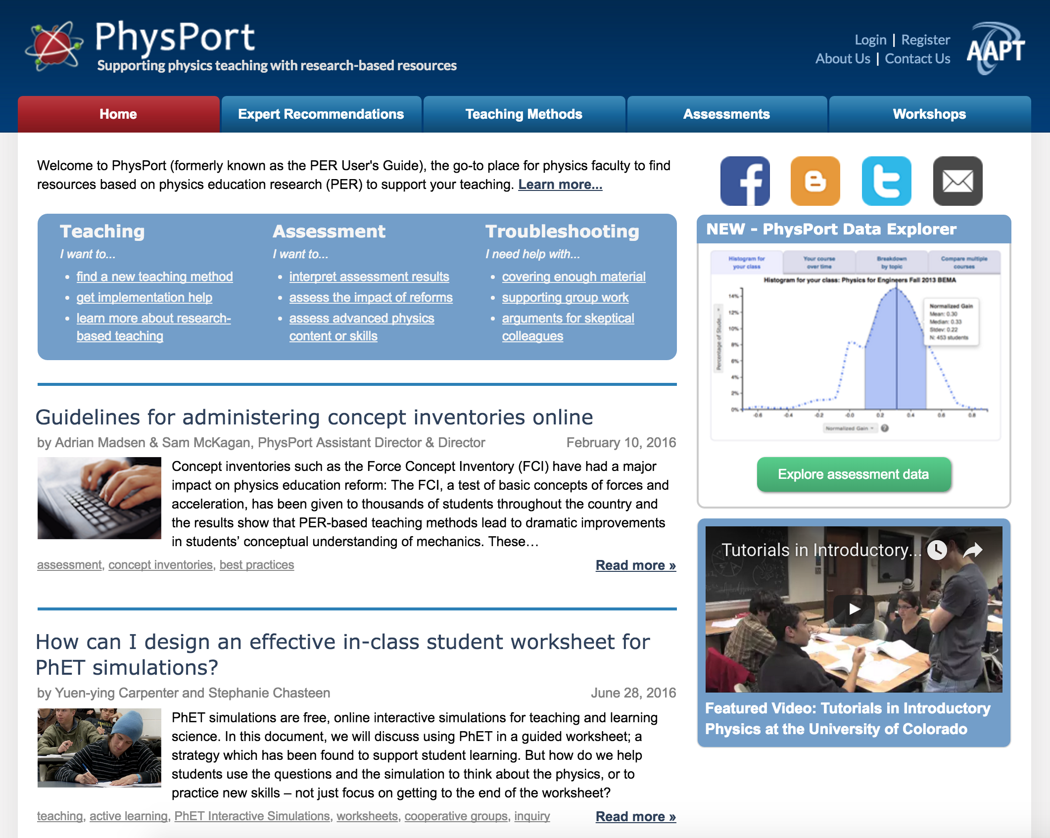 PhysPort Front Page