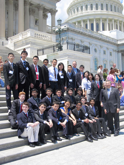 2012 U.S. Physics Team at U.S. Capitol with Rep. Rush Holt